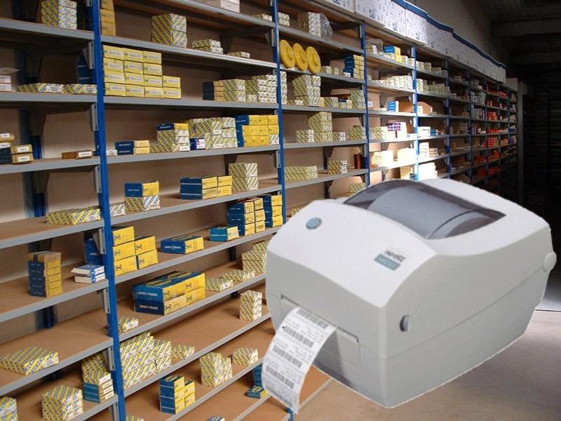 rayonnage stock imprimante etiquette
